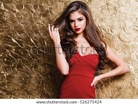 Beautiful attractive woman with luxury make-up and red lipstick Stock photo © Geribody