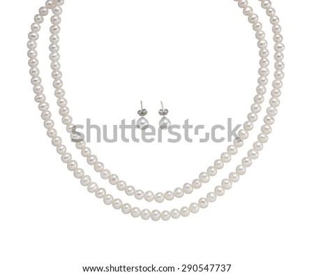 beautiful necklace and earrings with pearls isolated on white Stock photo © tetkoren
