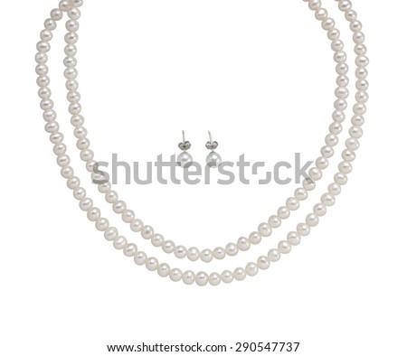 Mooie ketting oorbellen parels geïsoleerd witte Stockfoto © tetkoren