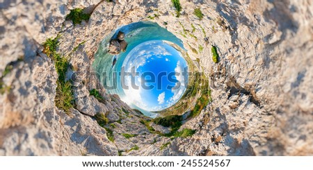 Aphrodites Rock. Stereographic projection. Paphos District. Cypr Stock photo © Kirill_M