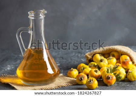 Close up on a medicine bottle with red syrup and fresh currant i Stock photo © tetkoren