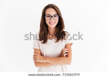 mooie · jonge · vrouw · bruin · kleding · geïsoleerd · witte - stockfoto © elnur