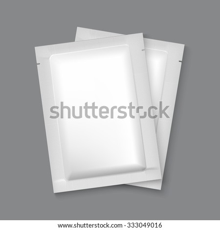 Blank white plastic sachet for medicine, condoms, drugs, coffee, sugar, salt, spices Stock photo © netkov1