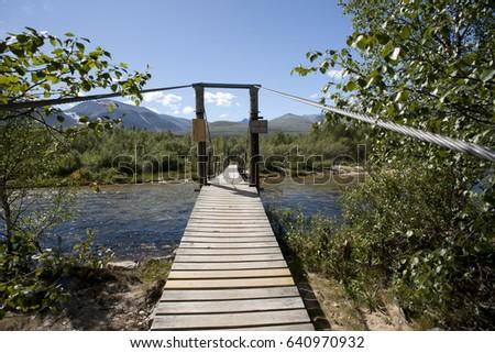 ponte · limpar · rio · floresta · parque · Noruega - foto stock © slunicko
