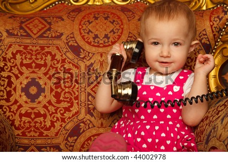 女の子 · ヴィンテージ · 電話 · かわいい · 小さな · 女の子 - ストックフォト © paha_l