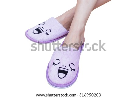 woman feet with smile slippers and happy, close up view, on whit Stock photo © FrameAngel