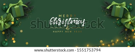 merry christmas   green glittering lettering design with snowflakes pattern stock photo © rommeo79