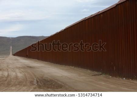 USA · Mexikó · keret · fal · amerikai · biztonság - stock fotó © cboswell
