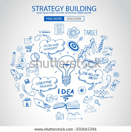 strategy building concept with doodle design style finding solution stock photo © davidarts