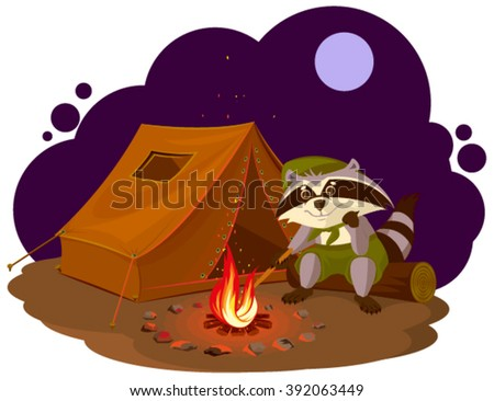 Summer holiday camp. Scout raccoon sitting around campfire. Raccoon tourist tent set. Camping Stock photo © orensila