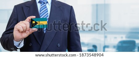 Credit card with Bahamas flag background for bank, presentations and business. Isolated on white Stock photo © tkacchuk