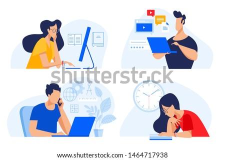 számítógép · klub · illusztráció · gyerekek · beszél · gyermek - stock fotó © vectorikart