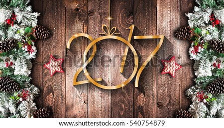 2017 New Year  Frame with green pine, colorful baubles and stars Stock photo © DavidArts