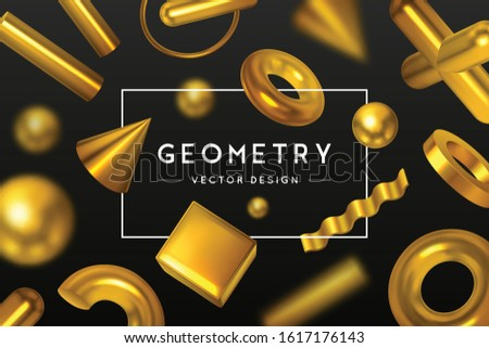 Simple set with black hollow geometric shapes and elements with  Stock photo © Vanzyst