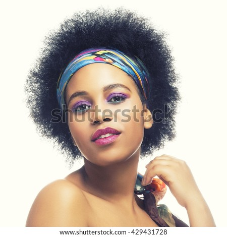 beauty young afro american woman in shawl on head smiling close  Stock photo © iordani