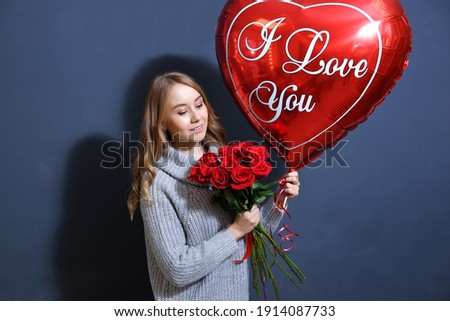 Photo stock: Happy Love Brunette Girl With Balloons And Bouquet Of Rose Flowe