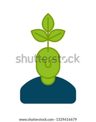 Young business manager icon. plant grows from head. Head and tre Stock photo © popaukropa