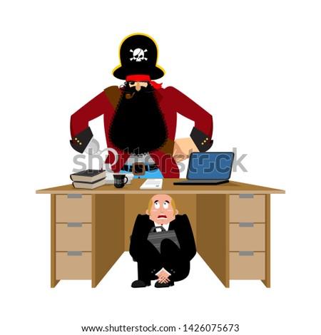 бизнесмен страшно таблице пиратских ограбление Сток-фото © popaukropa