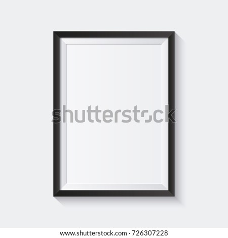 Realistic Photo Frame Vector. 3d Empty Wood Blank Picture Frame, Hanging On White Wall From The Fron Stock photo © pikepicture