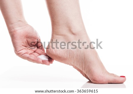 care for dry skin on the well-groomed feet and heels with the he Stock photo © Traimak