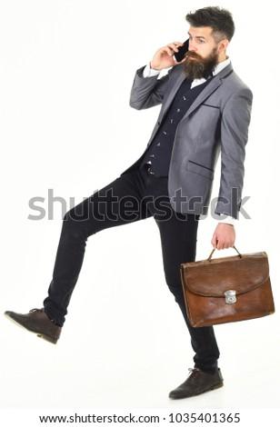 Genç kafkas işadamı evrak çantası tam uzunlukta Stok fotoğraf © RAStudio