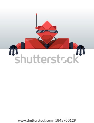 Robot holding banner blank. Cyborg and white blank. Robotic man  Stock photo © popaukropa