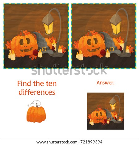 Find the ten differences between the two images with halloween pumpkins Stock photo © Natali_Brill