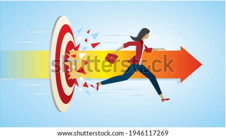 A woman runs for sales, breaking the wall Stock photo © studiostoks