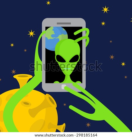 alien makes selfie in space space alien takes pictures of herse stock photo © popaukropa
