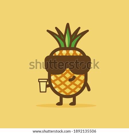 счастливым ананаса фрукты зеленый мультфильм талисман характер Сток-фото © hittoon