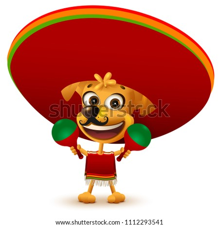 Funny cheerful yellow mexican dog in poncho and sombrero holding maracas Stock photo © orensila