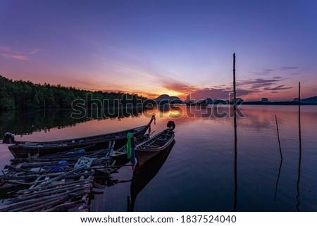 Foto stock: Silueta · barco · pesca · paisaje · vista