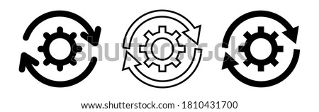 Stock photo: Gear Sign Round Vector Web Element Circular Button Icon Design