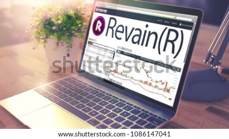 Dynamics of Cost of REVAIN on Laptop Screen. Cryptocurrency Conc Stock photo © tashatuvango