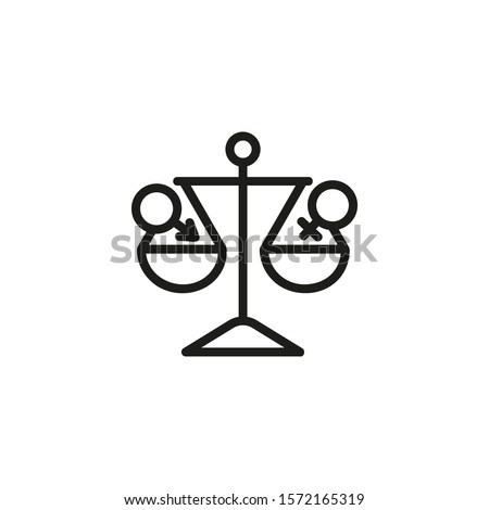 gender equality concept icon black gender icons on scales equality vector illustration isolated on stock photo © kyryloff