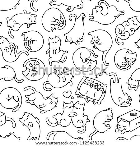 Gato padrão sem costura adormecido animal de estimação ornamento Foto stock © MaryValery