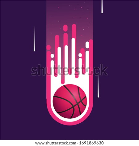 Fiery Basketball isolated. Flying gaming ball vector illustratio Stock photo © popaukropa
