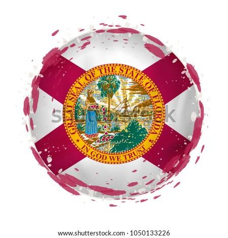 florida state flag on a round grunge icon. United states local f Stock photo © MikhailMishchenko