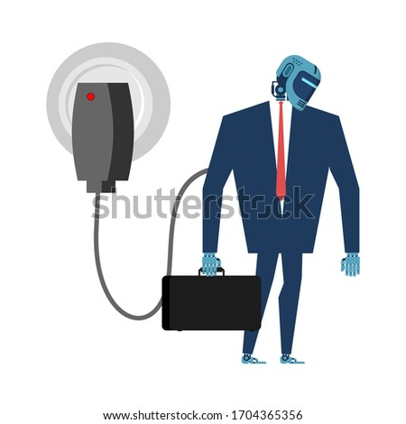 Charging for Cyborg. Robot in suit and charger. Artificial Intel Stock photo © MaryValery