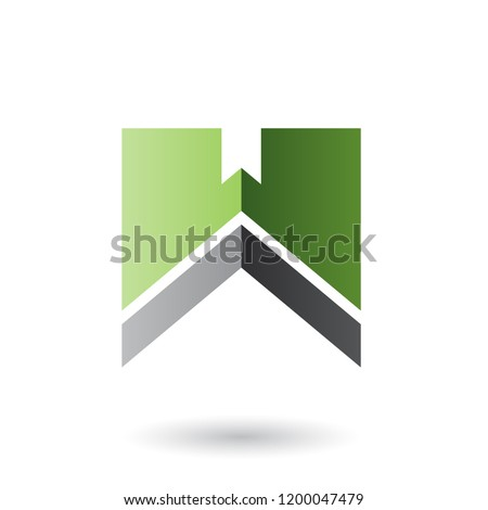 Green and Black Letter W with a Thick Stripe Vector Illustration Stock photo © cidepix