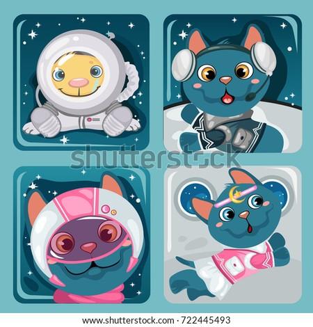 Cute плакат мало Flying кошек образец Сток-фото © Lady-Luck