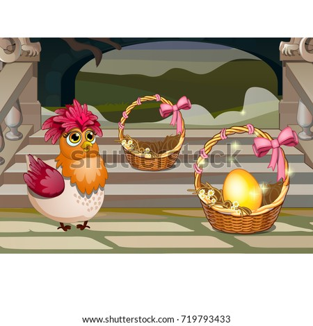 Funny poster with a quirky chicken and a golden egg in a wicker basket. Vector cartoon close-up illu Stock photo © Lady-Luck
