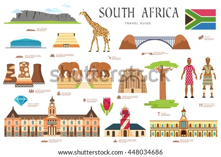 Country South Africa travel vacation places and features stickers. Set of architecture, fashion, peo Stock photo © Linetale