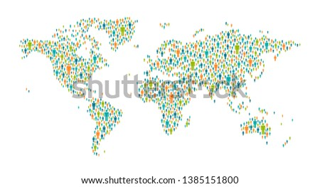 Global Communication Vector. People On World Map. Teamwork Connection. Isolated Illustration Stock photo © pikepicture