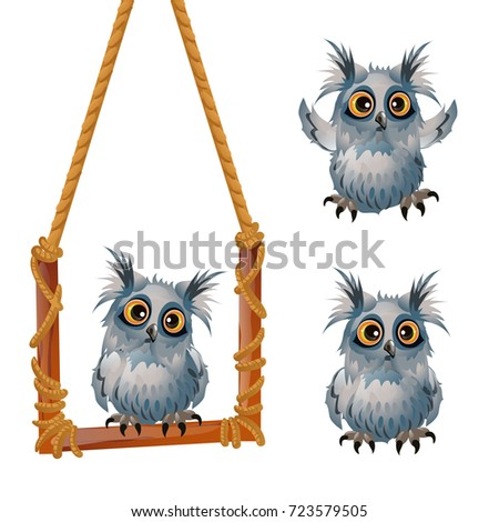 Cute fluffy grey owl sits on a swinging perch isolated on white background. Sketch for a poster or c Stock photo © Lady-Luck