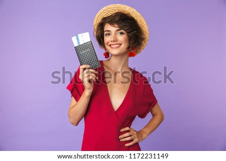 Image closeup of adorable brunette woman 20s in straw hat holdin Stock photo © deandrobot