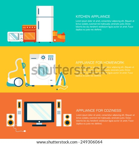 Flat modern home electronics appliances tehnology icons concept. Template headline banner and header Stock photo © Linetale