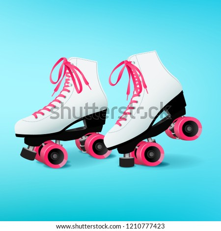 Pair of white roller skates with pink shoelaces on blue background Stock photo © MarySan