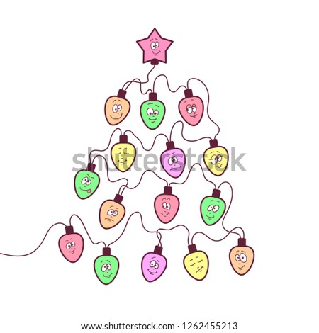christmas garland fun bulbs with funny faces stylized christmas tree shape stock photo © essl