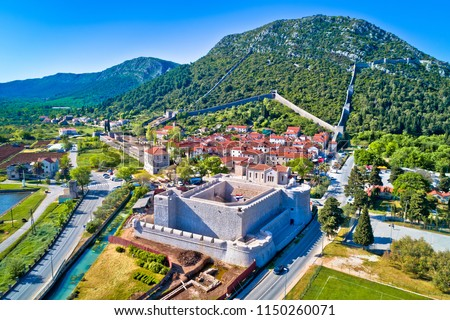 Panoramic aerial view of Ston historic walls and Peljesac penins Stock photo © xbrchx